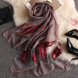 Discount long feather scarf Brand Pure Silk Scarf Women Summer Embroidery Feather Long Shawl Spring and Autumn Echarpe Organza Lady Elegant Hijab Wr