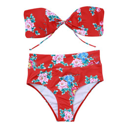 0e75294238d5b 2018 flower color women sexy high waist bikini two piece swimsuit backless  sport swimwear Monokini swimming bathing suit beachwear yky218
