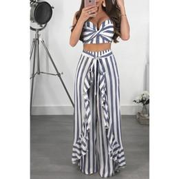 $enCountryForm.capitalKeyWord Australia - Women Striped Blue White Two Pieces Suit High Waist Wide Leg Pants Sexy V neck Tank Top