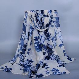 Cotton Viscose Scarves Australia - 10pcs lot printe big flower viscose design shawls cotton voile autumn wrap plain long hijab scarves scarf 10pcs lot 180*90cm