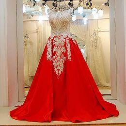 Sheath Evening Dress Patterns NZ - 2019 Long Red Formal Dresses O-Neck Sleeveless Beading Crystals Appliques Corset Back Satin Evening Dresses Long 100% Real Photos