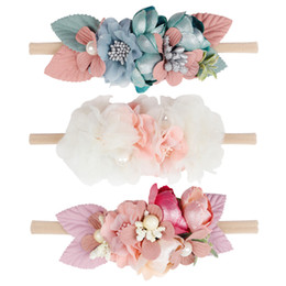 Chinese  Beautiful Artificial Floral Headband Kids Lace Flower Nylon Head Bands For Newborn Elastic Hair Band Headwear Hair Accessories manufacturers