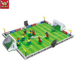 Compatibile con la città Campo di football americano Modello Kit di costruzione Bambini Educational Blocchi Blocchi Coppa del mondo Hegemony Figure Giocattoli in Offerta