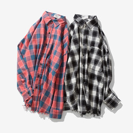 f05f3765bd9 2018 spring Harajuku wind Japanese retro long-sleeved plaid shirt Korea  ulzzang style men tide couple jackets camisa masculina