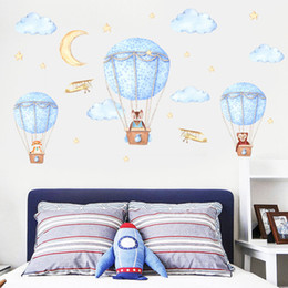 Wallpapers Walls Cartoons Australia - Bulk Cartoon Hot Air Balloon Wall Sticker Wallpaper Wall Picture Art Vintage Room Home Decor Kitchen Accessories Household Craft Suppllies