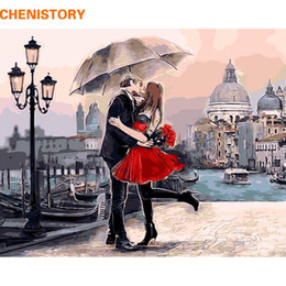 $enCountryForm.capitalKeyWord NZ - Framed Romantic Kiss Lover DIY Painting By Numbers Landscape Acrylic Picture Wall Art Hand Painted Oil Painting For Home Decor