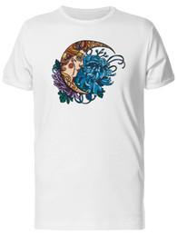 Black moon tattoo online shopping - Moon And Floral Tattoo Art Men s Tee Image by Shutterstock Cartoon t shirt men Unisex New Fashion tshirt