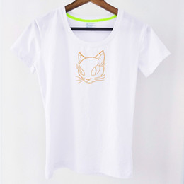 cats blouse Canada - Women's Clothing Rhinestone cat Cotton Short Sleeve Casual Blouse Tops T-Shirts