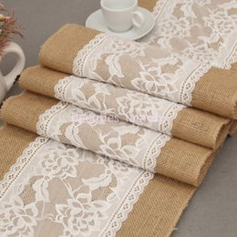 $enCountryForm.capitalKeyWord Australia - 30X275CM Long Burlap Table Runner Cloth Lace Flower Hessian Country Wedding Party Decor 5 pcs  lot