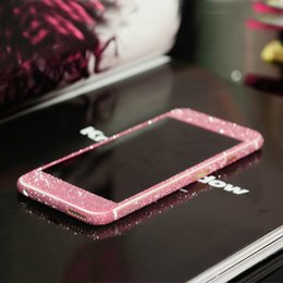 Back glitter iphone sticker online shopping - Glitter Bling Shiny Full Body Sticker Matte Skin Screen Protector For iphone Samsung Front Back decals good quality