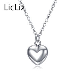 Chains For Mirrors Australia - LicLiz Trendy 925 Sterling Silver Mirror Polish Heart Pendant Necklace Long Link Chain Vintage Wedding Jewelry For Women LN0190 Y18102910