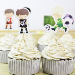 $enCountryForm.capitalKeyWord Australia - 24pcs lot Football Sports Toppers Picks Cupcake Toppers Picks Kid Birthday Party Decorations Evnent Party Favors