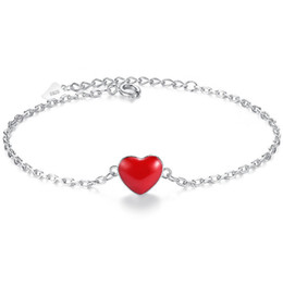 Silver Red Heart Pendant Bracelet Simple Fashion Jewelry Girlfriend Birthday Gift For Bride Wedding Bangles 320064
