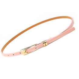 $enCountryForm.capitalKeyWord NZ - Fashion Elegant Skinny Waist Belt Women Belt Candy Color Thin Leather Narrow Waistband Dress Accessories Decorative Beltsbelt