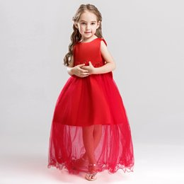 $enCountryForm.capitalKeyWord UK - Fashion Appliques Flower Girl Dresses O-neck Princess Ball Grown High Grade Sleeveless Back Bow Girls Dress 896