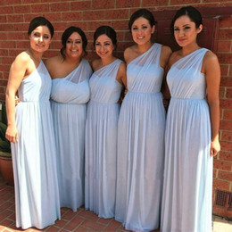 $enCountryForm.capitalKeyWord NZ - Light Blue Bridesmaid Dresses One Shoulder Pleats Floor Length Chiffon 2019 Formal Party Vestidos De Maid Of Honor Dress For Wedding Guest