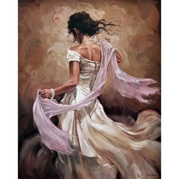 Handpainted dresses online shopping - Woman in white dress Abstract figure artwork Dancers handmade oil painting on canvas modern art for bedroom