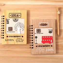 wooden stationery sets UK - 1pc Tree Bus NotWith Pen Set Wooden Diary Day Book Journal Stationery Wood Ballpoint School Supplies Gifts For Kids 18cm
