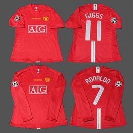 f7fed4fd0 07 08 Cristiano Ronaldo Giggs Rooney Scholes Nani MAN Vintage League 2008  Champion Retro Soccer Jersey Maillot UTD Football Shirts Camiseta