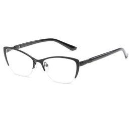 e5fe9f5f97 Half Frame Reading Glasses Women Metal Optical Mirror Glasses Anti-Fatigue  Hyperopia Women s Cat Eye HD Resin Lens Presbyopic Reading Glass