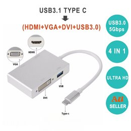 $enCountryForm.capitalKeyWord Australia - 4 in 1 Type-C USB 3.1 USB C Type C to HDMI VGA DVI USB 3.0 Adapter Cable for Laptop Apple Macbook Google Chromebook Pixel new