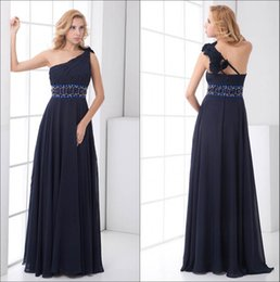 Discount one shoulder floral wedding dresses - One Shoulder Chiffon Long Bridesmaid Dresses Navy Blue Ruched Beaded Sash Floral Floor Length Wedding Guest Maid Of Hono