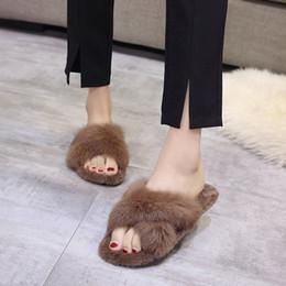 5ac9c791feef Celebrity Flat Shoes NZ - Rabbit Fur Flats Open Toe Slides Girls Cross Band Furry  Sandals