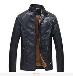 Front Stand NZ - Autumn and winter new men's leather jacket Slim motorcycle warm windproof coat stand collar large size PU leather jacket M-6XL