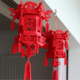$enCountryForm.capitalKeyWord NZ - Beautiful Lucky Auspicious Red Double Happiness Chinese Knot Tassel Hanging Lantern Rooftop Wedding Room Decoration QW8456