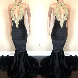 Discount sparkle open back prom dresses - Real Image Sexy Open Back Sparkling Gold Sequins Appliques Prom Dresses Mermaid Halter Neck Keyhole Front Long Evening G