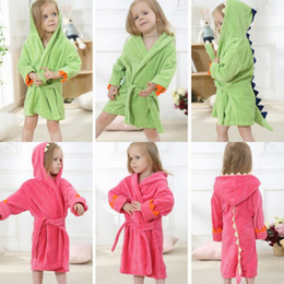 cotton towelling children bathrobe girl NZ - New Children Cotton Cardigan Bathrobe Baby Boys Girls Cape Cloak Hooded Towel Bath Towel Cartoon Dinosaur Sleepwear Night Robe Nightgown