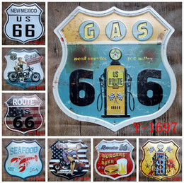 Discount route 66 decor - Irregular Old Wall Metal Painting Route 66 Food Metal Signs Pub Wall Plaque Art Decor Retro Iron Painting Home Decoratio