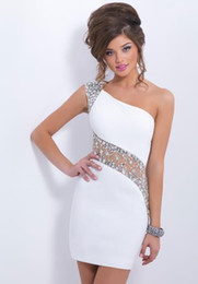 $enCountryForm.capitalKeyWord Australia - One Shoulder Cheap White Homecoming Dresses Sexy See Through Back With Crystal Beads Sequins Mini Short Prom Cocktail Gown
