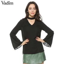 $enCountryForm.capitalKeyWord Canada - women stylish flare sleeve halter V-neck chiffon blouse summer fashion casual solid shirts loose tops LT904
