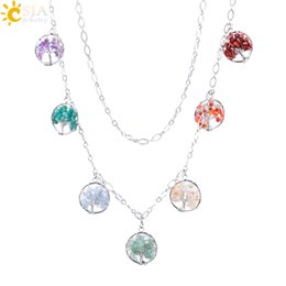 Crystal Chips NZ - CSJA 7 Color Natural Chip Gem Stone Necklace for Women Men Long Bohemian Jewelry Wisdom Tree Pendant Green Adventurine Crystal Necklace F002
