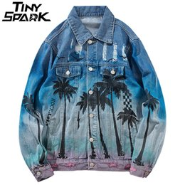 47826637730a8 Vintage Denim Bomber Jacket Ripped Holes Sea Beach Coconut Tree Men Hip Hop Jeans  Jacket Streetwear 2018 Distressed Denim