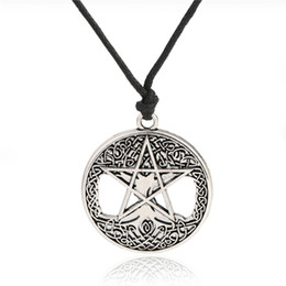 Tree Life Pendant Gold UK - Fishhook pentacle tree of life necklace wicca jewelry long necklace with big pendant necklaces for men silver&gold color