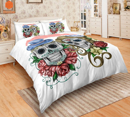 Discount king size skull bedding - 3Pcs Sugar Flowers Sweet Skull Black Bedding Set Pillowcases Duvet Cover Quilt Cover For Kids Queen King Sizes Bedspread