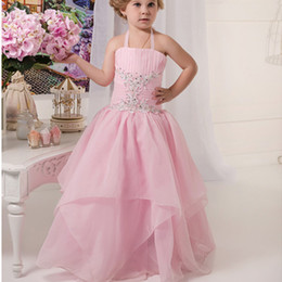 $enCountryForm.capitalKeyWord Australia - Halter Pink Custom Cute Little Flower Girl Dress Floor Length Hand Made Flowers Bows Kids Prom Birthday Dress Cheap