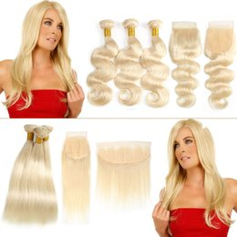 cheap closures Canada - Cheap Straight Brazilian human Hair Weaves 613 Blonde Color Virgin Hair Bundles with Closures Remy Bundles With Frontal Body Wave Extensions