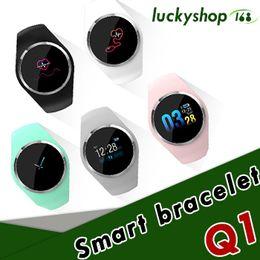 smartwatch dhl 2019 - Q1 Color Screen sensor Smart Watch Wristband Blood Pressure Heart Rate Monitor Fitness Tracker Men Women Smartwatch Brac