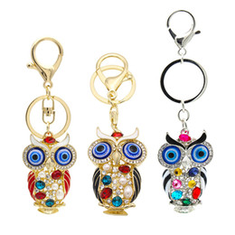Crystal Clear Phone Cases NZ - Crystal Colored Diamond Owls Charms Twinkle Night Owl Phone Case Straps Shining Rhinestones Keychain Glittered Car Diamonds Pendant Jewelry