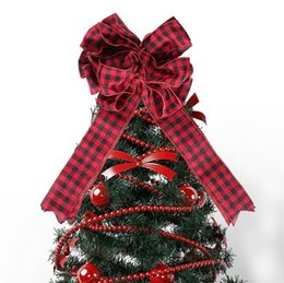 red bow christmas tree ornaments UK - New Christmas Decoration Plaid Bow Tree Top Decorative Bow Red Scene Arrangement