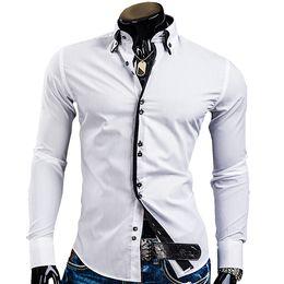 $enCountryForm.capitalKeyWord Australia - Spring Mens Long Sleeved Dress Shirts Double Collar Button Unique Design Slim Fit Brand Shirts 8 Colors Plus size