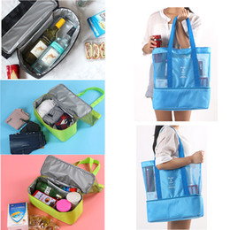 cool sports bags wholesale Canada - Shoulder Hand Bag Double-layer Nylon Insulation Bag Picnic Cooler Package Travel Sports Beach Grid Large Storage Bag Ice Pack Lunch Bags