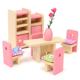 Toy Furniture Wholesale NZ - Wooden Delicate Dollhouse Furniture Toys Miniature For Kids Children Pretend Play 6 Room set 4 Dolls Toys For Baby's Playpen