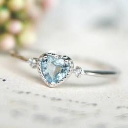 Опт Женщины Дотошное высокое качество и дотошное ремесло Серебро 925 пробы с синим сердцем в форме сердца Сапфир