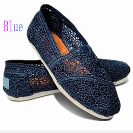 $enCountryForm.capitalKeyWord Australia - Casual Shoes Women Classics TOM MRS Loafers Canvas fashion Lace crochet Hollow out Slip-On Flats shoes Lazy shoes free shipping Deep blue