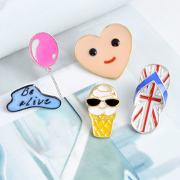 Alloy Jacket Canada - Cartoon Balloon Clouds Heart brooch Smile Face Ice cream Slippers Brooches Metal Enamel Pins Button Bag Jacket Collar Badge Jewelry dropship