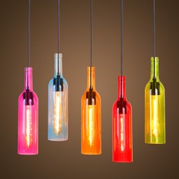 Wholesale Multi color modern led pendant lights lamp lighting fixtures industrieel hanging lamp glass shade bar kitchen e27 socket AC v